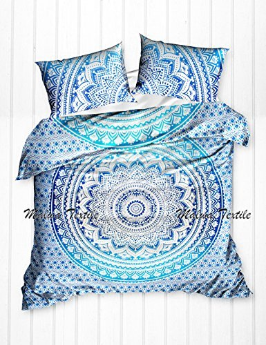 Malwa Exclusive Mandala Duvet Cover With Two Pillow Covers , Indian Duvet Quilt Cover Coverlet Bohemian Doona Cover , Blanket Cover Throw Queen Size (Blue)