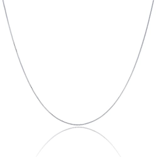 925 Sterling Silver 1.5 MM Box Chain Italian Crafted Necklace - Rhodium Plated - Lobster Claw 16 - 3...