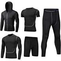Dooxii Homme 5 Pièces Vêtements de Sport avec Hoodies Vestes Manches Courtes Manches Longues Shirt Compression Collant Short Séchage Rapide Workout Ensemble de Fitness Tenuede Sportswear
