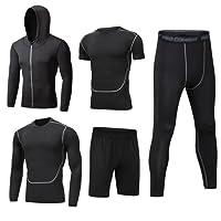 Dooxii Uomo 5 Pezzi Completi Sportivi Abbigliamento Giacca con Cappuccio Manica Corta Manica Lunga Camicie a Compressione Pantaloni a Compressione Pantaloncini Vestiti Set