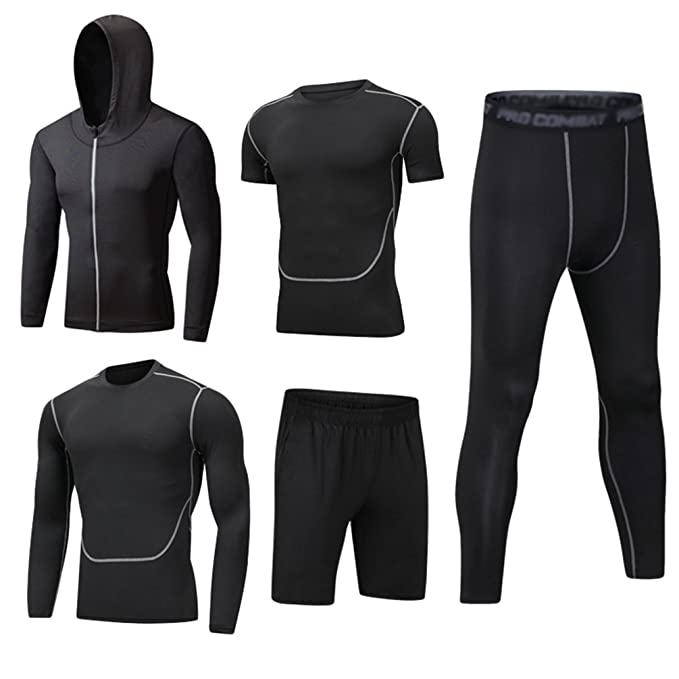 00623685853 Dooxi Mens 5pcs Sports Gym Fitness Clothing Set Hoodies Jackets+Long Sleeve+ Short Sleeve Base Layers T Shirts+Loose Fitting Shorts+Compression Pants  for ...
