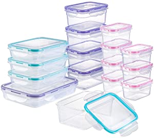 [16 Pack] Food Storage Containers with Lids, Plastic Food Containers with Lids, Airtight Storage Container Sets for Kitchen, Easy Snap Lock, BPA Free & FDA Approved & Leakproof (16Lids&16Containers)
