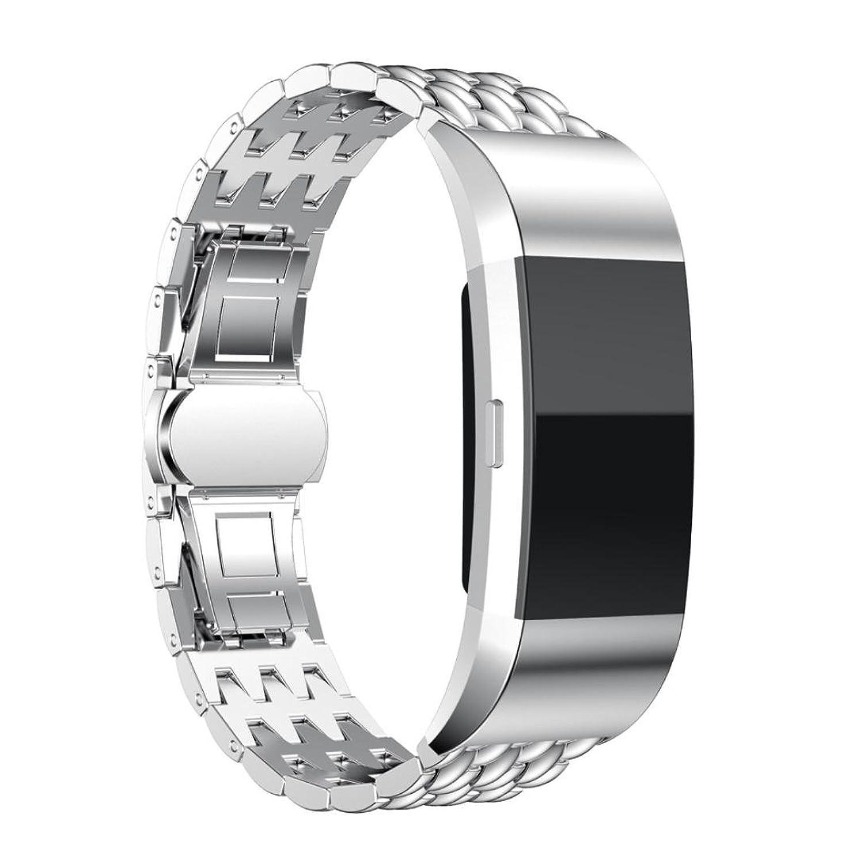 charberry Fitbit Charge 2 Watch Band本ステンレススチールブレスレットスマートウォッチバンドストラップシルバー  B06XHTF684