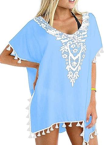 heekpek Vestido Playa Mujer Ganchillo Borlas Talla Grande Traje de baño de Gasa Cubra Camisa Bikini Protector Solar: Amazon.es: Ropa y accesorios