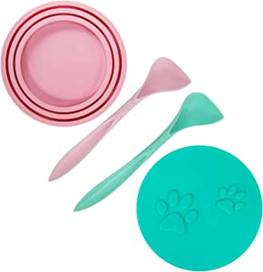 SLSON 2 Pack Pet Food Can Cover Universal Silicone Cat Dog Food Can Lids 1 Fit 3 Standard Size Can Tops with 2 Spoons,Pink and Green