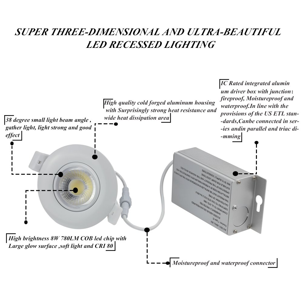 Directional Adjustable Dimmable LED Retrofit Recessed Lighting Fixture 2700K Warm White 750LM Ceiling Flexible light With Junction Box 75W Replacement 1 Pack TSCDY Gimbal Downlight IC Rated 3 Inch 8W