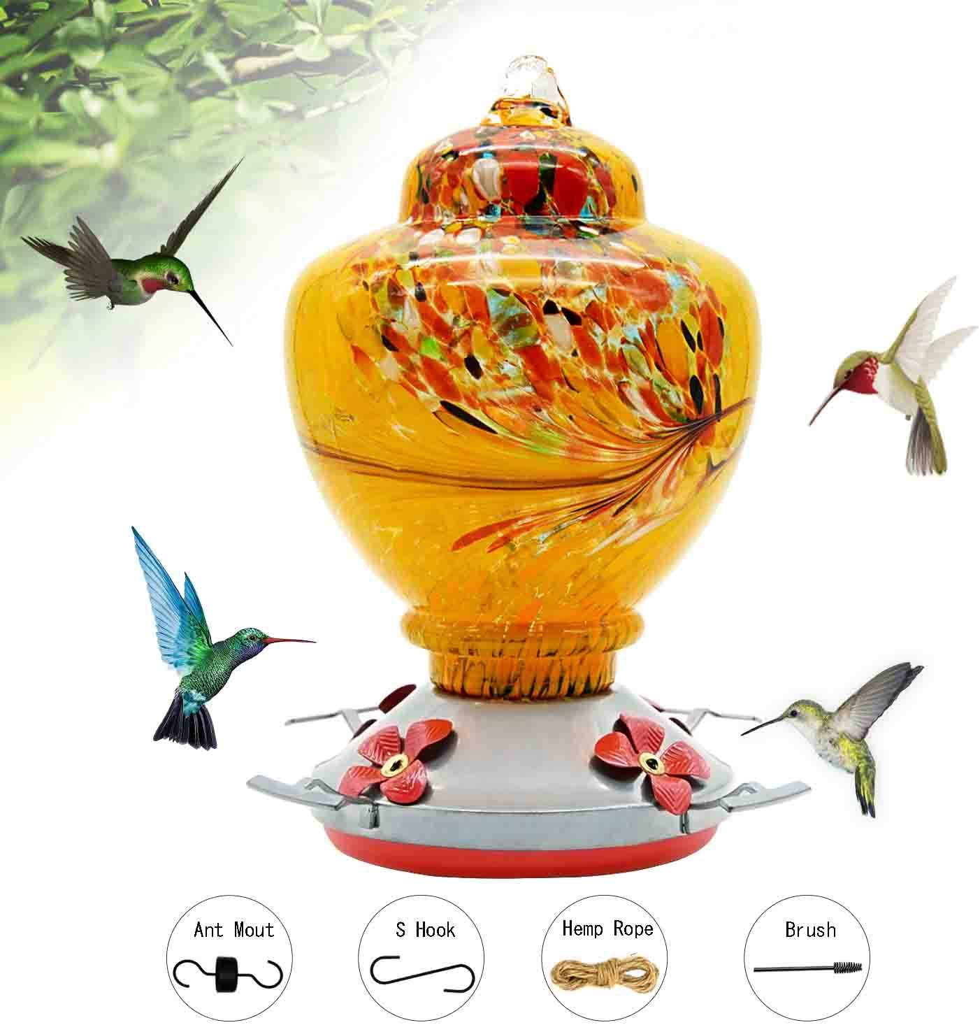HARBORII Hummingbird Feeder Ant Guard for Window Garden Outdoors Humming Bird Feeders with Ant Moat, S Hook,Cleaning Brushes