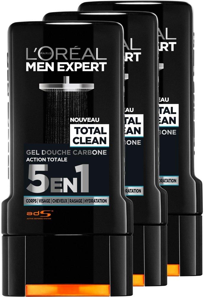 L'Oréal Men Expert Total Clean Gel Douche 5 en 1 pour Homme 300 ml - Lot de 3 L' Oréal Men Expert