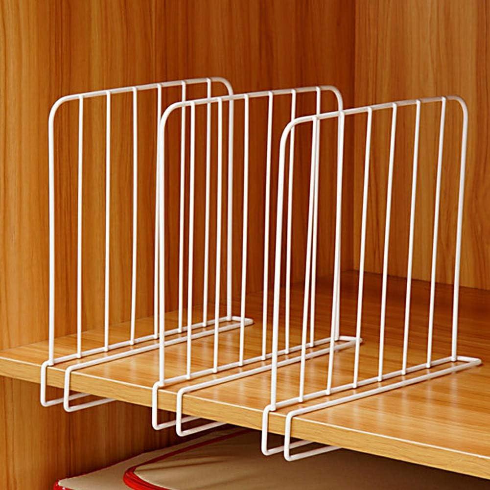 paquete de 3 divisiones de estante en alambre de armario Separadores de estanter/ía de metal blanco para armarios de armario de madera de oficina de cocina separadores verticales de organizador