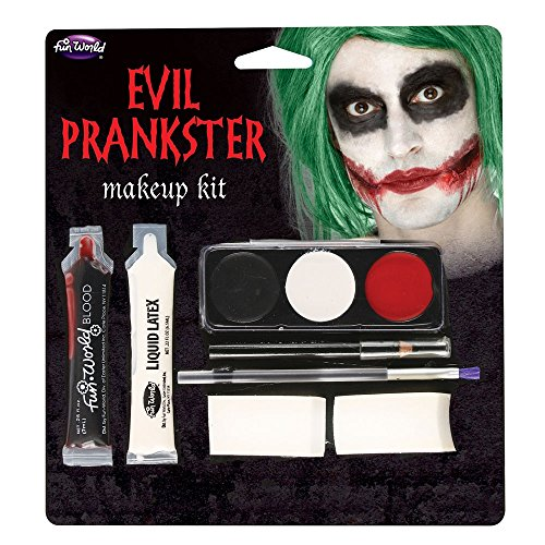 Halloween Evil Prankster/Joker Make Up Kit with Latex, Blood, Makeup & Applicator - Halloween Outfits Uk