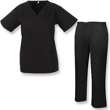 MISEMIYA Reformado Sanitarios Uniforme Camisa de Utilidades de Trabajo, Negro, M para Mujer