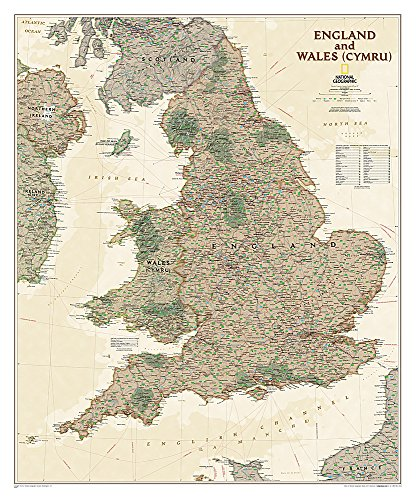 National Geographic: England and Wales Executive Wall Map (30 x 36 inches) (National Geographic Reference Map) ()