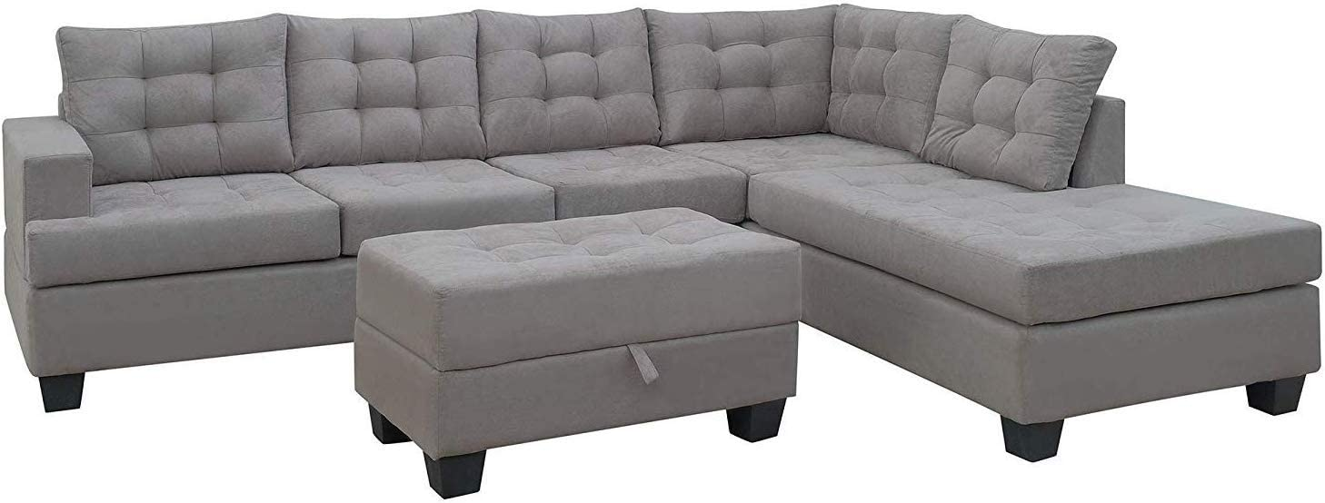 MOOSENG, 3-Piece Living Room Furniture Set with Chaise Lounge and Storage Ottoman L Shape Couch Sofas, Cool Gray