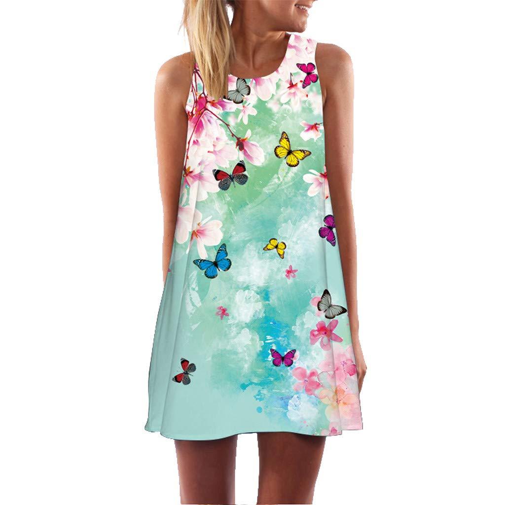 Carolui Damen Trägerkleid Boho Ärmellos Blumen Muster Pfauenfeder Schmetterling Druck Casual Strandkleid