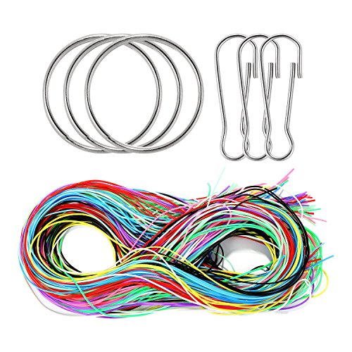 Shappy 150 Meters Craft Gimp String Scooby Strings Scoubidou String Plastic Lacing Cord with Snap Clips and Keychain Ring for Craft Making, 10 Colors
