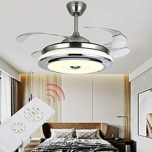 Retractable Ceiling Fan Light 36'' Electric Invisible Ceiling Fan Light