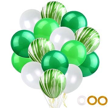 TUPARKA 100PCS Globos de Fiesta del día de San Patricio con Cintas Globos de látex Verde de 12 Pulgadas para Decoraciones del día de San Patricio ...