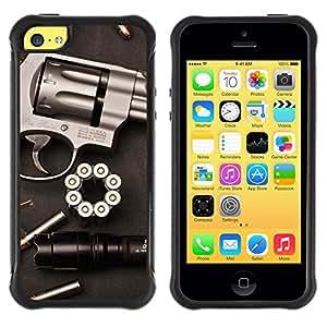 SHIMIN CAO@ Gun Revolver Clean Pistol War Bullets Rugged Hybrid Armor Slim Protection Case Cover Shell For iphone 5C CASE Cover ,iphone 5C case,iphone5C cover ,Cases for iphone 5C