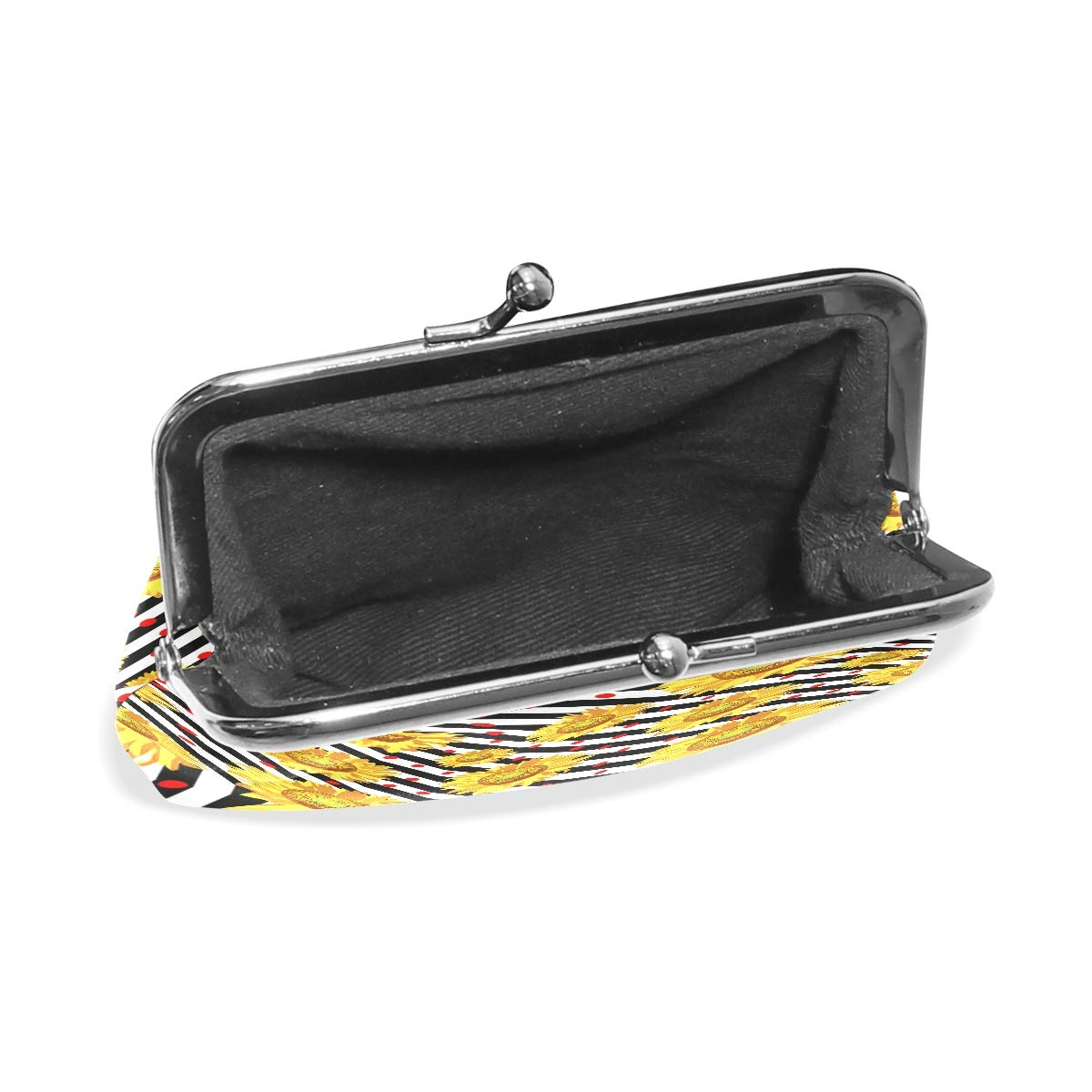 Exquisite Buckle Coin Purses Sunflower On Black Mini Wallet Key Card Holder Purse for Women