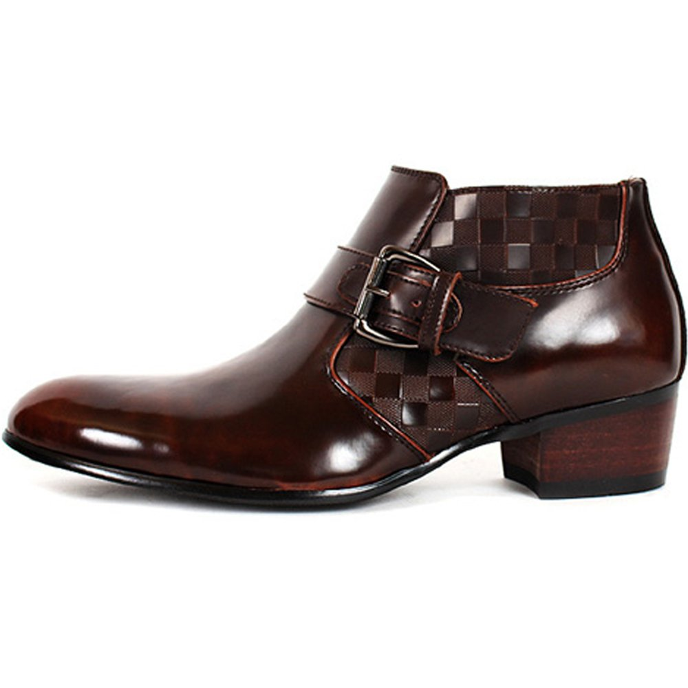 JustOneStyle New Band Fashion Mens Dress Formal Leather Zip Ankle Boots Shoes Wine (7.5)