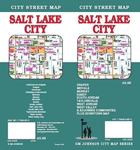 Salt Lake City, UT Street Map by GM Johnson - Mall Johnson Map City