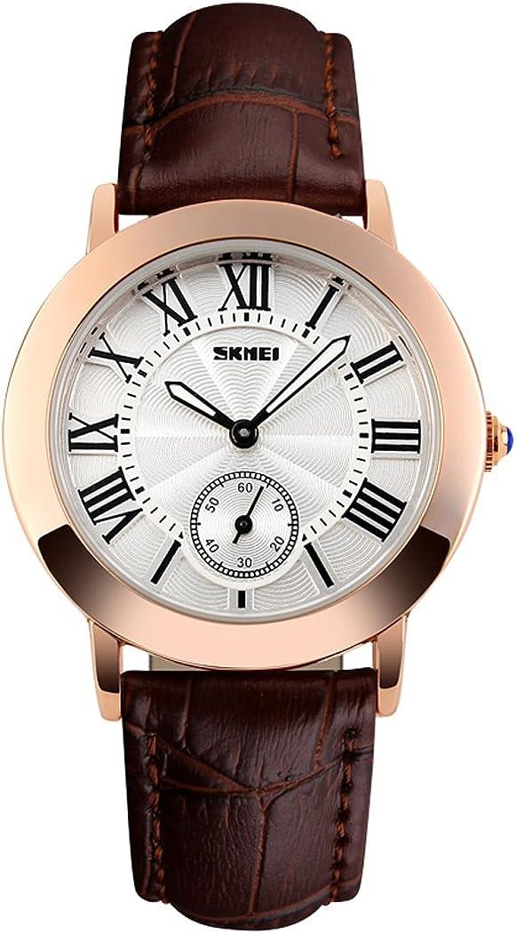 Fanmis Womens Unique Roman Numeral Quartz Analog Waterproof Brown Leather Strap Rose Gold Wrist Watch