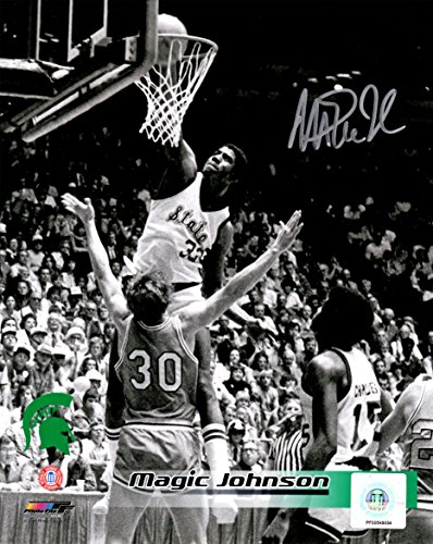 Magic Johnson Signed Michigan State Spartans Slam Dunk B&W 8x10 Photo - Schwartz COA
