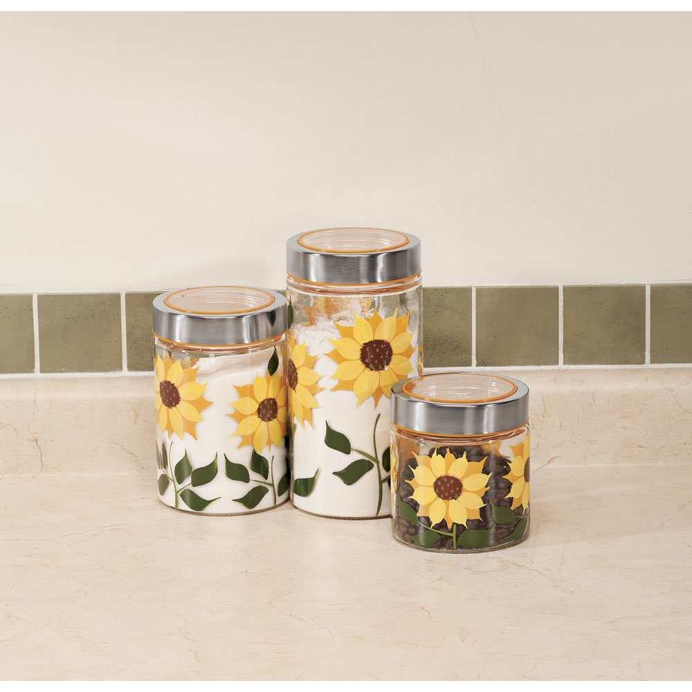 amazon com sunflower canisters set of 3 kitchen u0026 dining