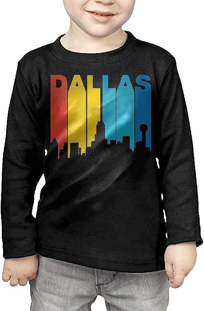 CERTONGCXTS Baby Girls Little Boys Retro 1970s Style Dallas Texas Skyline ComfortSoft Long Sleeve T-Shirt