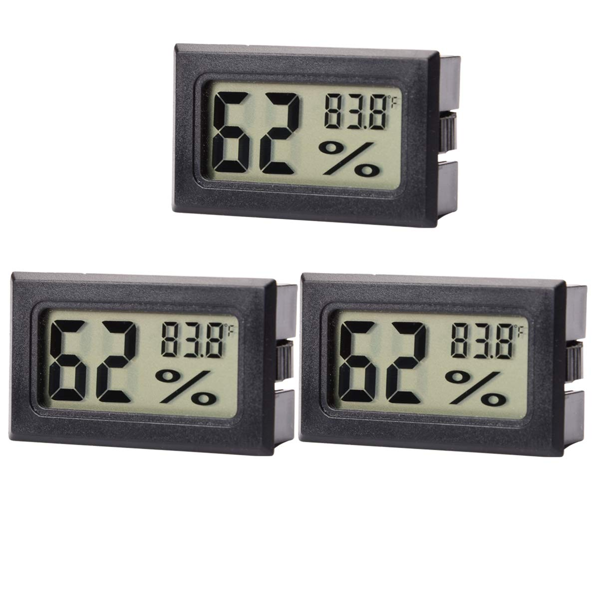 AUTIDEFY Mini Digital Electronic Temperature Humidity Meters Gauge Indoor Thermometer Hygrometer LCD Display Fahrenheit (℉) (3 Pack) by AUTIDEFY