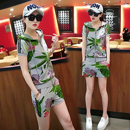 QNQA les courtes taille d'été temporaires sportswear costume deux pièces 3 mode d'impression,XXL,gris