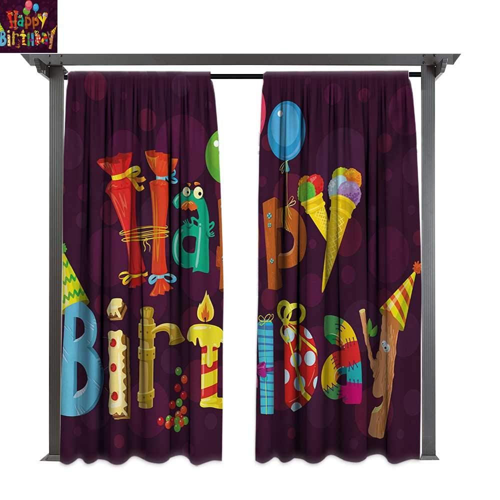 Combynee Outdoor Privacy Curtain, Abstract Purple Background Ice Cream Sweets Party Objects as Letters Celebration, for Front Porch Covered Patio Gazebo Dock Beach Home (W84 x L108 Inches Multicolor)