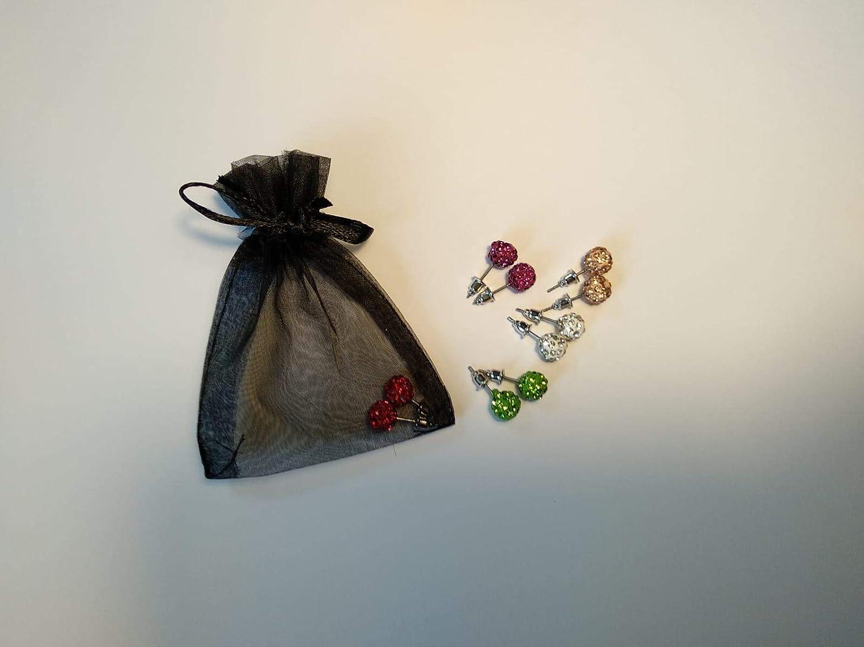 Pendientes cristal tipo swarovski con saco organza - Pack 12 ...
