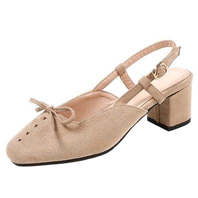 COOLCEPT Damen Fashion Slingback Pumps Sandalen mit Blockabsatz Apricot Size 40 Asian aJxBb8k
