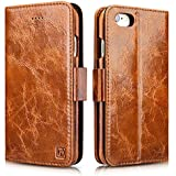 iPhone 6 Plus / 6S Plus Case, Icarercase Oil Wax Genuine Leather Detachable 2 in 1 Case, Wallet Folio Flip and Back Cover Design with Magnetic Strap for iPhone 6 Plus / 6S Plus 5.5 inch (Brown)