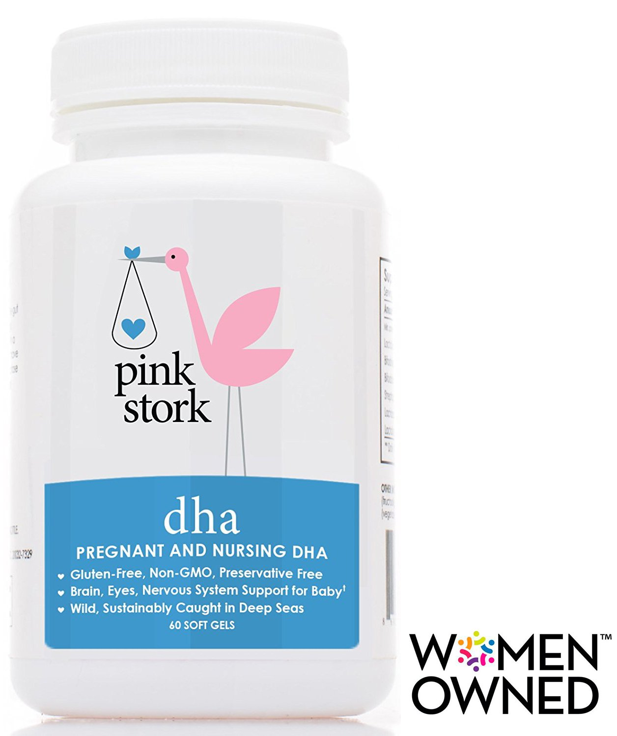 Pink Stork DHA: Prenatal & Nursing -1 Small Pill for 100% DV -Enhances Brain, Eye & Nervous System for Baby –Doctor Recommended -Wild-Caught -Non-GMO, Soy & Preservative-Free