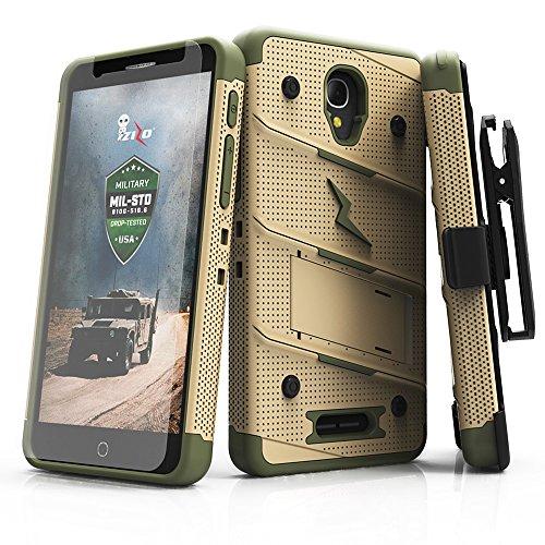 Alcatel Fierce 4 Case, Zizo [Bolt Series] w/Free [Alcatel Fierce 4 Screen Protector] Kickstand [12 ft. Military Grade Drop Tested] Holster - Allura