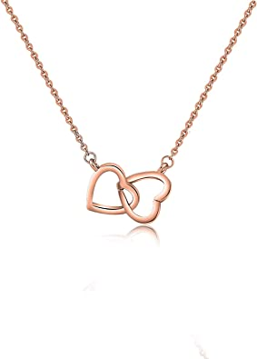 Gift-Boxed LA Style Sideway Three Heart Crystal Necklace