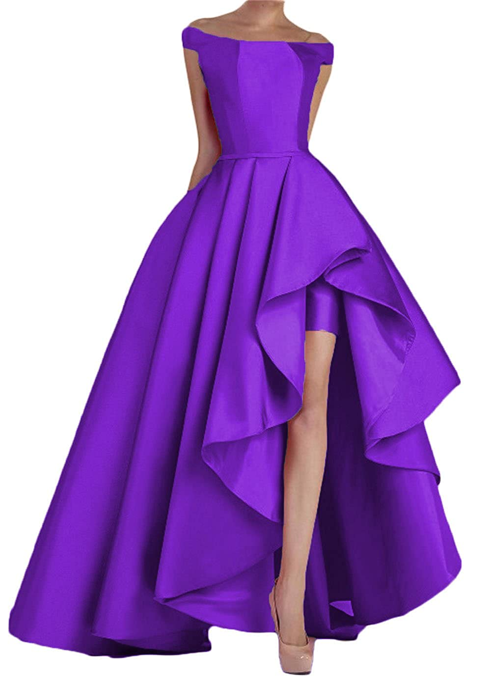 Purple Dydsz Women's Off Shoulder Long Evening Prom Dresses Plus Size Formal Gowns D22