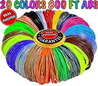 3D Pen Filament Refills 1.75mm ABS 20 Colors Total 800 Feet, 40 Feet Each - Mega Kit/Set with Individual Packs for 3D Drawing/Printing Pens and Printers from PARKYAPI
