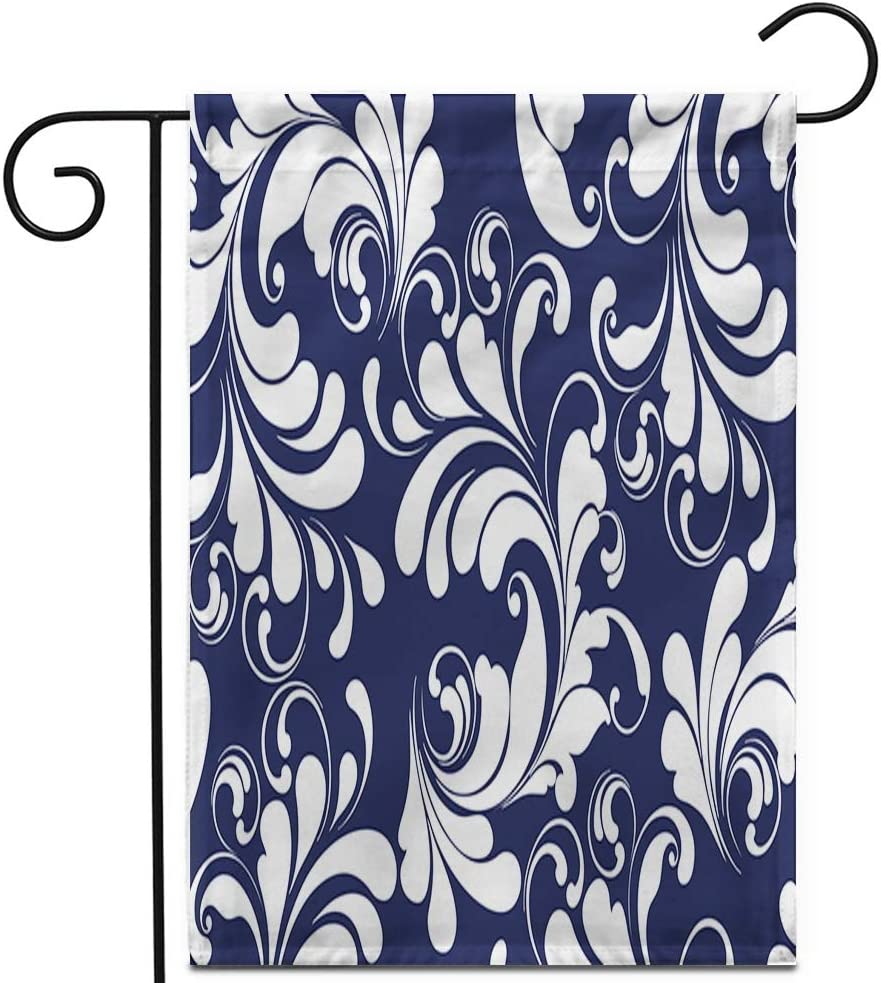 "Awowee 12""x18"" Garden Flag Floral Blue Lacy White Pattern of The Herbal Pinstripe Outdoor Home Decor Double Sided Yard Flags Banner for Patio Lawn"