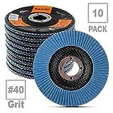 KSEIBI Zirconia Corundum 4 1/2 inch Flap Disc Sanding Grinding Wheel (#40)