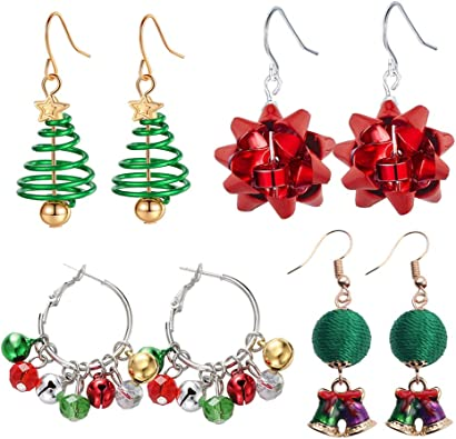 Christmas Bells Bow Dangle Earrings Silver Red Green Jewelry