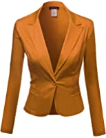 Awesome21 Women's Basic Solid Color Sherring Sleeve Boyfriend Blazer Made in USA