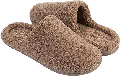 8cf59d2f543 FEETCITY Faux Fur Slip On Womens House Slipper Memory Foam Brown Men 7-7.5