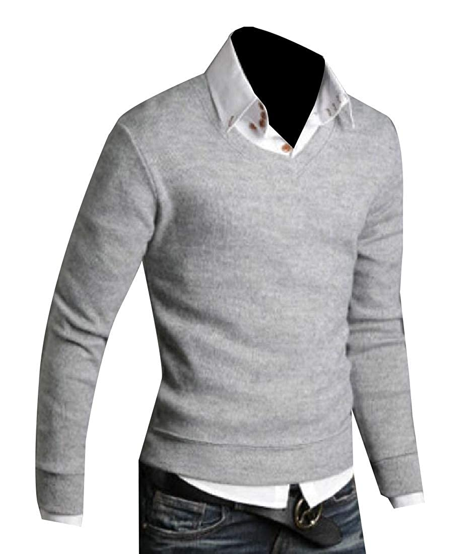 Zimaes-Men Basic Mock Neck Pure Colour Soft Fall Winter Slim Sweater