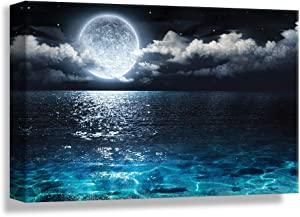 NWT Canvas Wall Art Blue Ocean Under Moonlight Calmful Heart Painting Artwork for Home Prints Framed - 24x36 inches