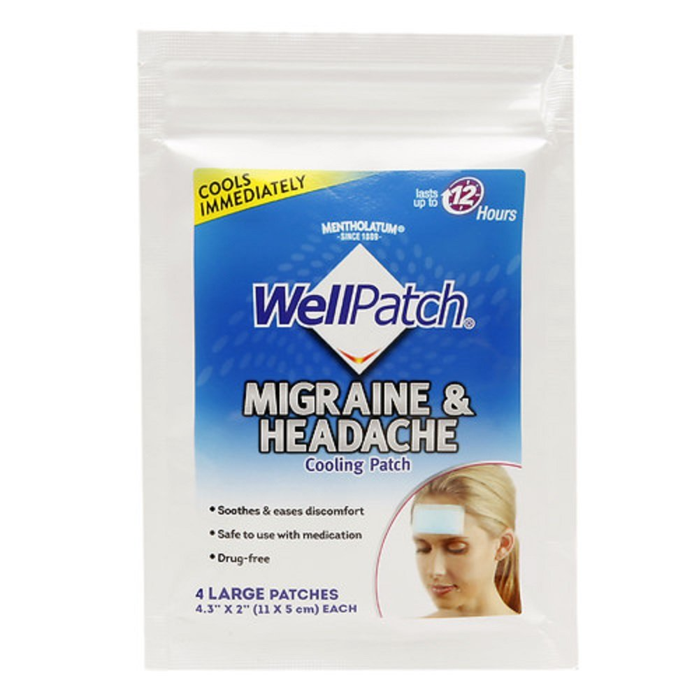 Wellpatch Migraine & Headache Cooling Patch 2 x 4.3 in. (28 Patches Per Box) (11 Pack)