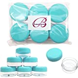 Beauticom Teal Color 15 gram/15ml/ 0.5oz. (Quantity: 12 Pieces) Empty Clear Round Travel Container Jars with Lids for Make Up Powders, Eyeshadow Pigments, Lotions, Creams, Lip Balm, Lip Gloss, Samples