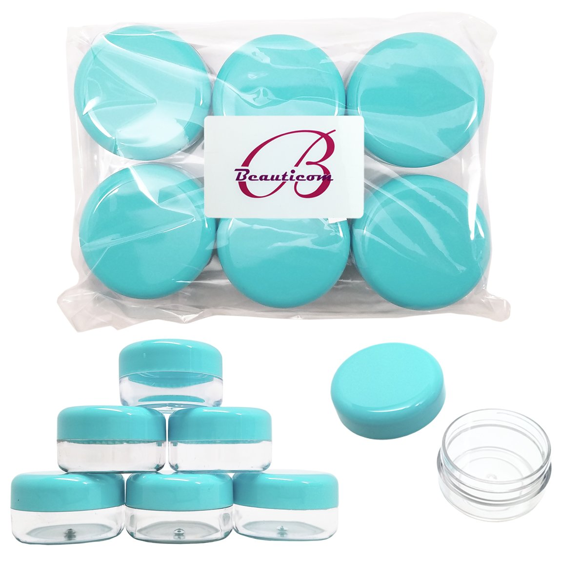 Beauticom Teal Color 15 gram/15ml/0.5oz. (Quantity: 900 Pieces) Empty Clear Round Travel Container Jars with Lids for Make Up Powders, Eyeshadow Pigments, Lotions, Creams, Lip Balm, Lip Gloss, Samples